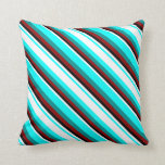 [ Thumbnail: Aqua, White, Black, Dark Red & Dark Cyan Colored Throw Pillow ]