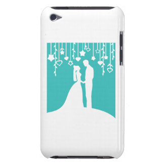 Aqua & White Bride and Groom Wedding Silhouettes Barely There iPod Covers