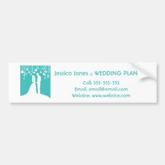 Aqua & White Bride and Groom Wedding Silhouettes Bumper Sticker