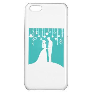 Aqua & White Bride and Groom Wedding Silhouettes Case For iPhone 5C