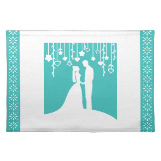Aqua & White Bride and Groom Wedding Silhouettes Cloth Placemat
