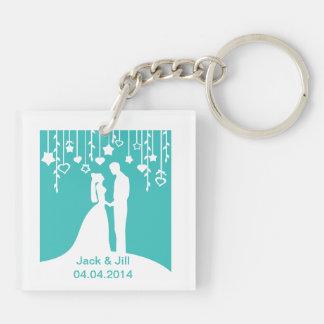 Aqua & White Bride and Groom Wedding Silhouettes Keychain