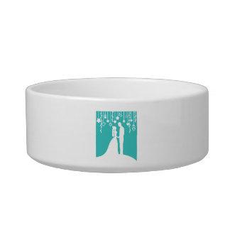 Aqua & White Bride and Groom Wedding Silhouettes Pet Water Bowl