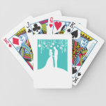 Aqua & White Bride and Groom Wedding Silhouettes Bicycle Card Decks