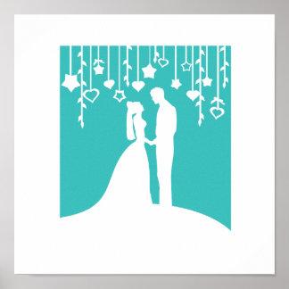 Aqua & White Bride and Groom Wedding Silhouettes Poster