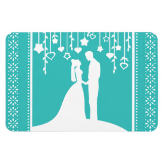 Aqua & White Bride and Groom Wedding Silhouettes Magnets