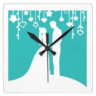 Aqua & White Bride and Groom Wedding Silhouettes Square Wall Clock