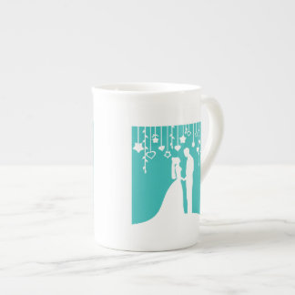 Aqua & White Bride and Groom Wedding Silhouettes Tea Cup