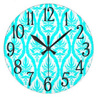 Aqua White Brocade Jacquard Pattern Large Clock