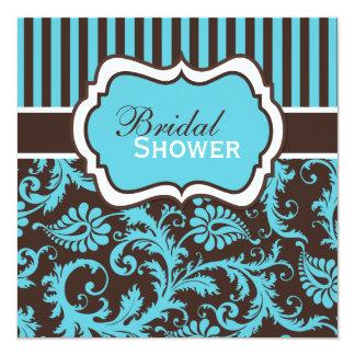 Aqua, White, Brown Damask Bridal Shower Invite
