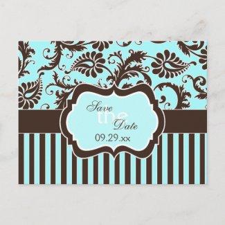 Aqua White Brown Striped Damask Save the Date Card postcard