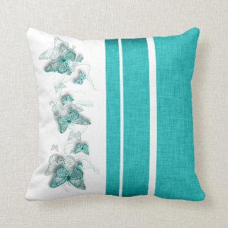 Aqua white butterfly stripe throw pillow