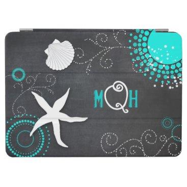 Beach Themed Aqua White Chalkboard Beach Monogram iPad Air Case