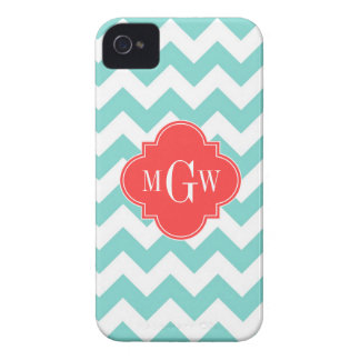Aqua White Chevron Coral Red Quatrefoil 3 Monogram iPhone 4 Case