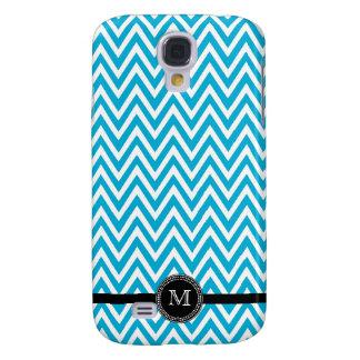 Aqua white chevron monogram iphone 3 case