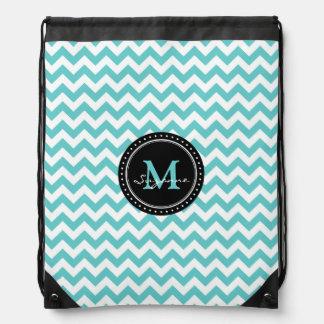 Aqua White Chevron Pattern | Monogram Drawstring Backpack