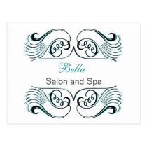 aqua  white Chic Business Thank You Cards