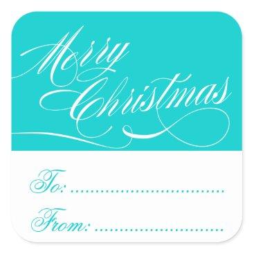 Christmas Themed AQUA WHITE CHRISTMAS GIFT TAG STICKERS