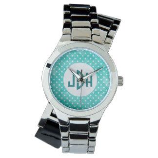 Aqua White Custom Monogram Wristwatch