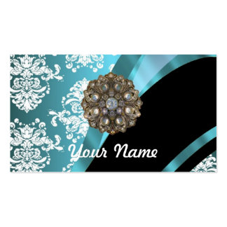 Aqua white damask with faux crystal gem business card