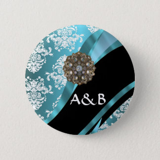 Aqua & white damask with faux crystal gem button