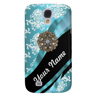 Aqua & white damask with faux crystal gem galaxy s4 cases