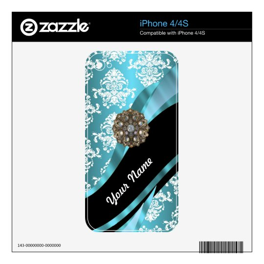 Aqua & white damask with faux crystal gem decals for the iPhone 4