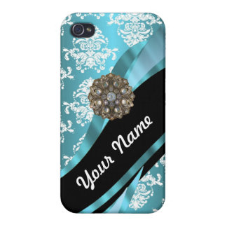 Aqua & white damask with faux crystal gem iPhone 4/4S cover