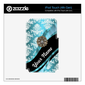 Aqua & white damask with faux crystal gem iPod touch 4G decal