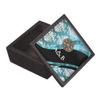 Aqua & white damask with faux crystal gem keepsake box