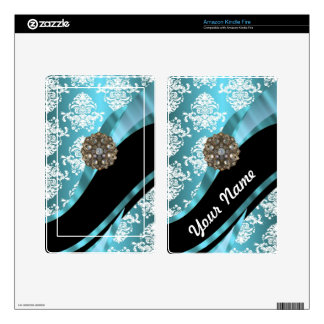 Aqua & white damask with faux crystal gem kindle fire skins