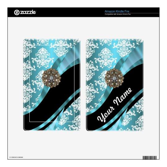 Aqua & white damask with faux crystal gem kindle fire skins