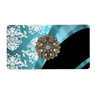 Aqua white damask with faux crystal gem shipping label