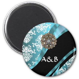 Aqua & white damask with faux crystal gem magnet
