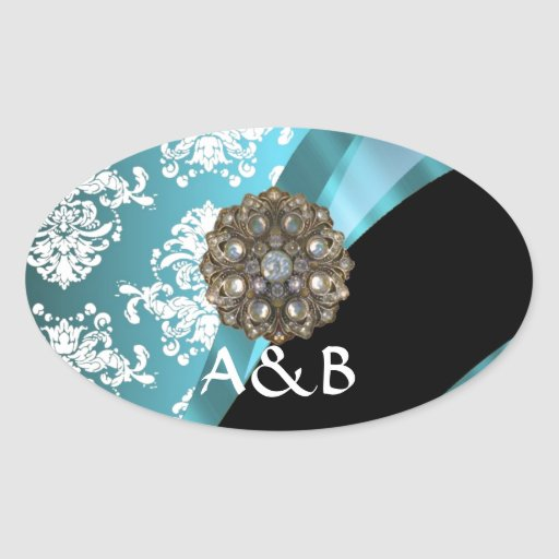 Aqua & white damask with faux crystal gem oval sticker