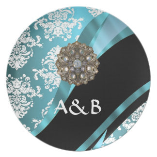 Aqua & white damask with faux crystal gem plate