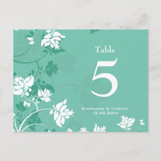 Aqua white floral swirls wedding table number postcard