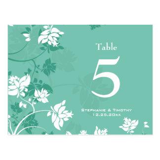 Aqua white floral swirls wedding table number postcards