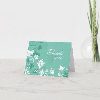 Aqua white floral swirls wedding thank you card card