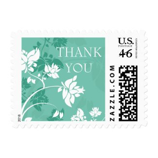 Aqua white floral swirls wedding thank you stamps stamp