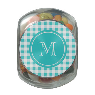 Aqua White Gingham Pattern, Your Monogram Glass Candy Jar