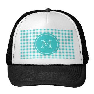 Aqua White Gingham Pattern, Your Monogram Hat