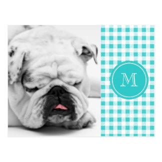 Aqua White Gingham Pattern, Your Monogram Postcard