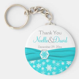 Aqua, White, Gray Snowflake Thank You Key Chain