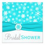 Aqua, White, Gray Snowflakes Bridal Shower Invite