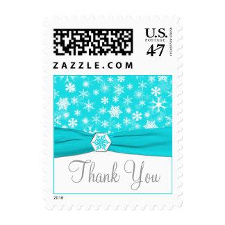 Aqua, White, Gray Snowflakes Thank You Postage