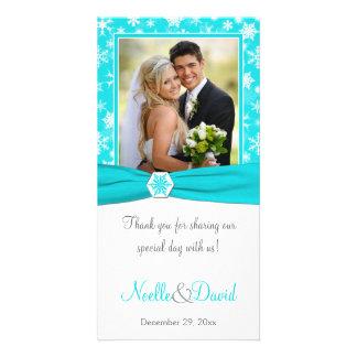 Aqua, White, Gray Snowflakes Wedding Photo Card