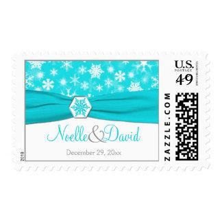 Aqua, White, Gray Snowflakes Wedding Postage