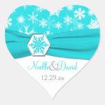 Aqua, White, Gray Snowflakes Wedding Sticker