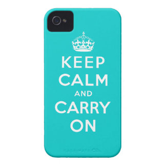 Aqua White Keep Calm and Carry On iPhone 4 Case